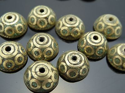 Vintage Tibetan Antique Brass Inlay Natural Turquoise 8mm Round Caps 10 Pieces
