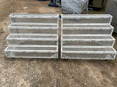 Set Of 2 Commercial 48 Aluminum 4-tier Rolling Steps Risers Display Fixtures
