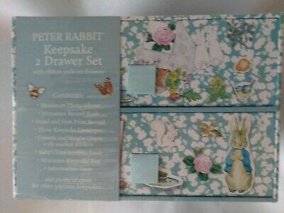 Peter Rabbit, Keepsake 2 Drawer Box Set, Photo Album Record Book NEW.  Rabbit Keepsake Box