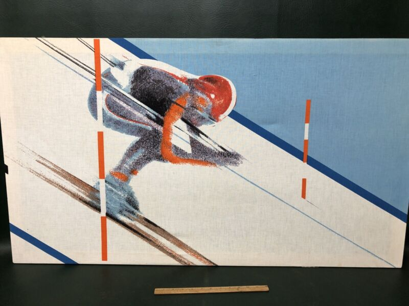 Rare KLAUS HEIDER Olympia Collection fabric wall art Down Hill Racer Skier MCM