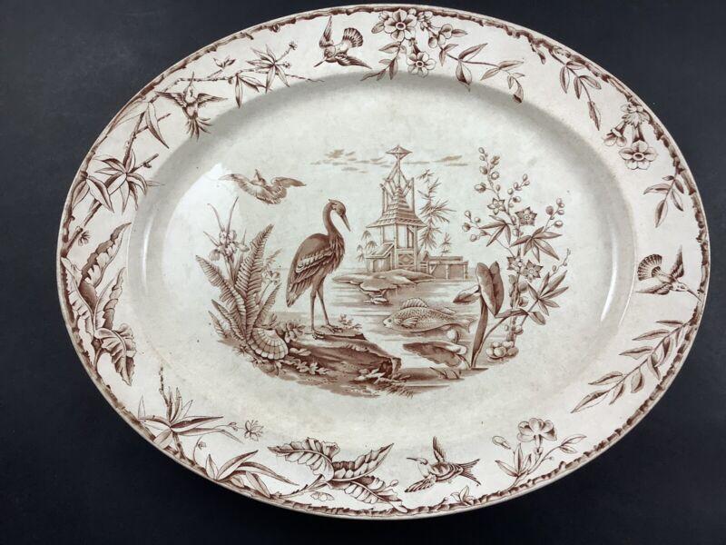 "Ridgway Indus Brown & Cream Transferware Aesthetic Movement 17 3/4"" Oval Platter"