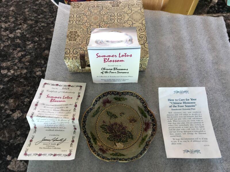 Chinese Blossoms Translucent Cloisonne Plate Vintage Plique A Jour Summer Lotus