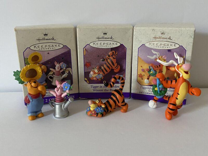 1998-99 HALLMARK Ornament Garden Winnie the POOH PIGLET TIGGERiffic lot of 3 NIB