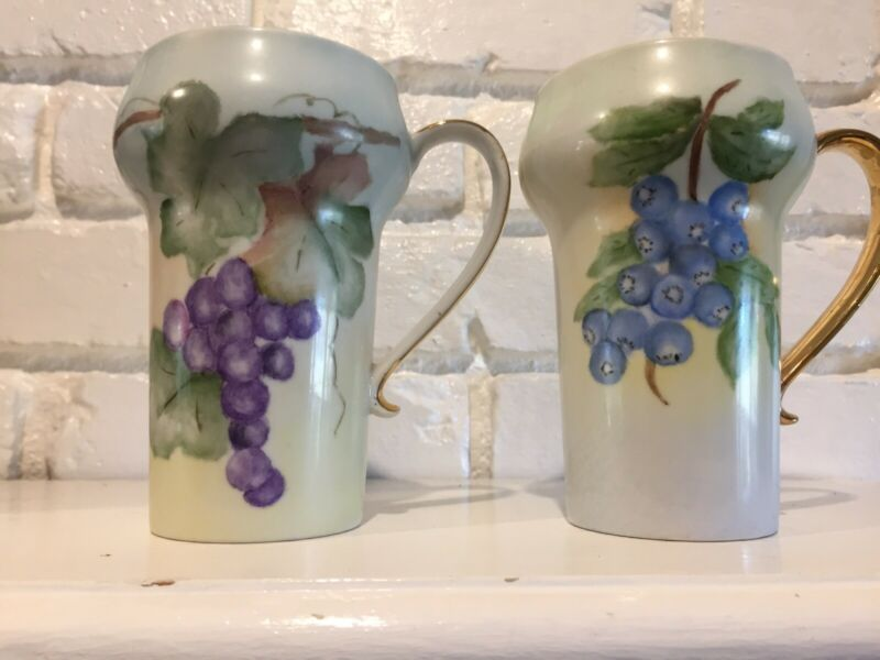 Antique 2 Tankard  Stein/Mugs Hand Painted
