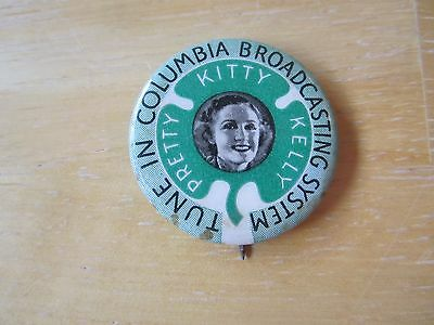 Vintage CBS Columbia Broadcasting Service/Pretty Kitty Kelly Pinback Button