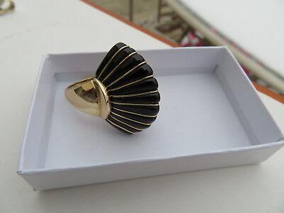 Rare 14K Yellow Gold MAZ Black Onyx Fan Ring 14.9 Grams Size 8.75