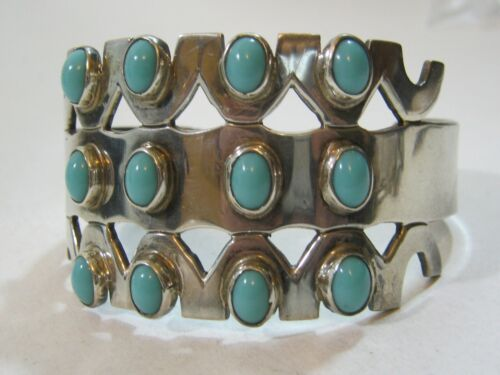Vintage Mexican Silver & Turquoise Cuff Bracelet ~ Hector Aguilar Style ~ Fab!