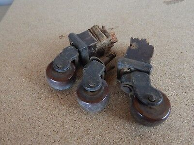 3x vintage ceramic Castors Furniture castors for small table etc salvage