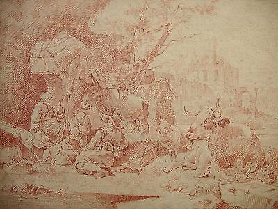 BERCHEM (NACH), PASTORALE LANDSCHAFT; BUCOLIC LANDSCAPE, RÖTEL; RED CHALK, ~1700
