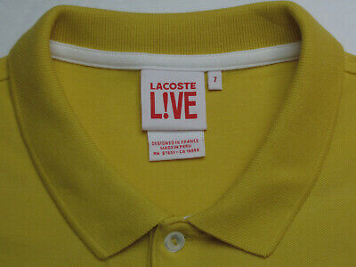 Lacoste Men's Size 7 (L) Short Sleeve Yellow 100% Cot Large Croc Polo Shirt 6977