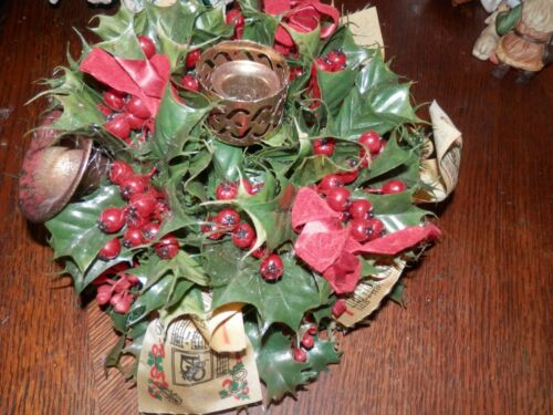Vintage Holly/Berry Music Christmas Candle Holder, 9 x 8 in.