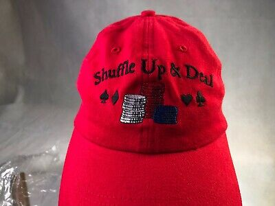 SHUFFLE UP & DEAL Red Hat Cap Low Profile Cloth Adjustable Poker Cards OSFM Cloth Low Profile Cap