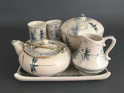 vintage Asian, 8 piece ceramic tea set, off white and bule 1970's