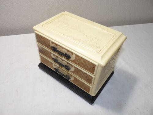 Vintage ORIENTAL 3 Drawer Jewelry Box PLASTIC Chinese Dragons