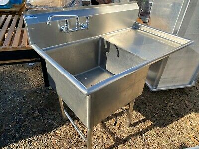 Gsw Stainless Steel 51 X 30 Commercial 1 Compartment Sink Wdrainboard Nsf
