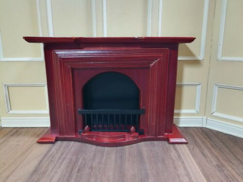 Dollhouse Miniature Fireplace Large Mahogany Finish 1:12 Scale Furniture