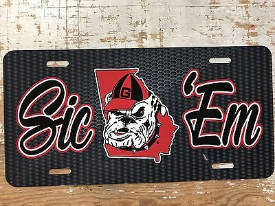 Old Style Metal - Georgia Bulldog Old Style Head Sic Em License Plate Metal Carbon Pattern Tag New
