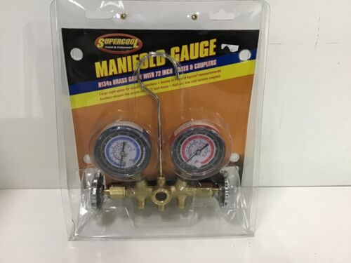 SUPERCOOL - 66 A/C Manifold Gauge PSI and BAR Brass