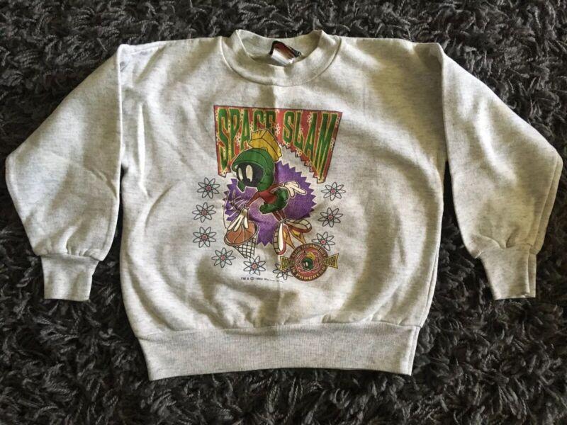 Vtg 90s Marvin the Martian Gray sweatshirt SPACE SLAM JAM Basketball YOUTH 5/6