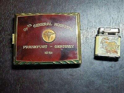 1951 Frankfurt Germany 97th General Hospital US Zone Cigarette Case and Lighter