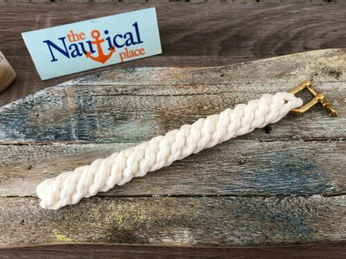 Medium Rope Bell Pull w/ Brass Shackle - Braided Knot Lanyard Hand Tied Bellpull