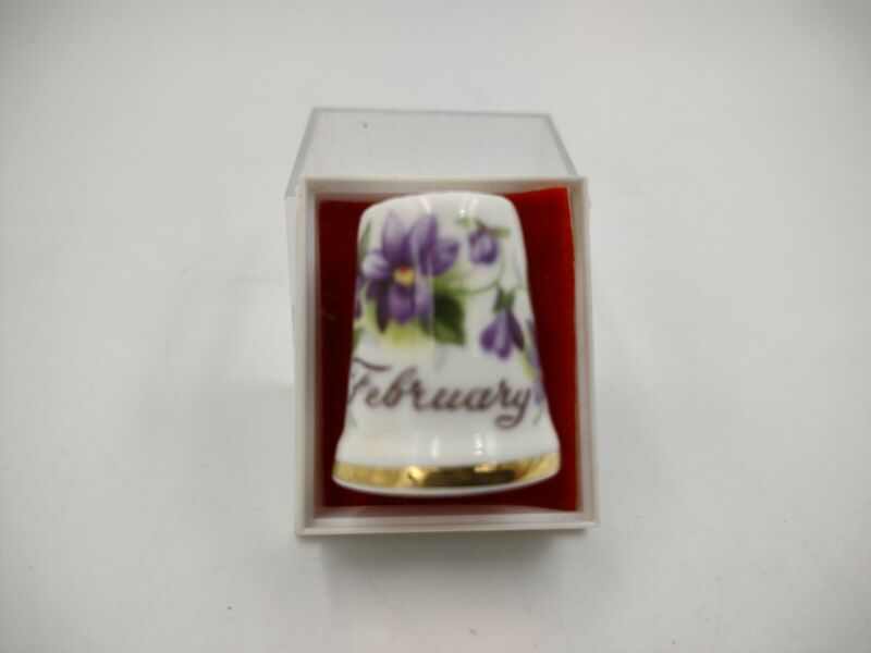 Royal Albert Vintage Sewing THIMBLE Bone China FEBRUARY Flower of the Month