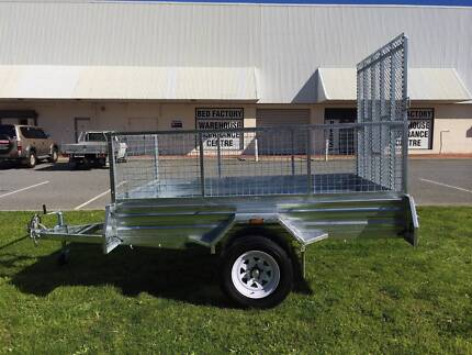AMAZING DEAL--Galvanized 8x5 Ramp Box Trailer with Mesh Cage O'Connor Fremantle Area Preview