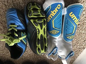 Soccer shoes and shin guards for kids. Size 11