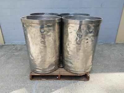Used Open Top Stainless Steel Drums 4 Pack Lot Number 2