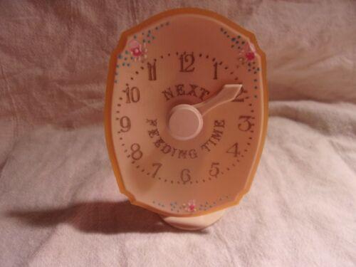 Vintage PLASTIC CELLULOID NEXT FEEDING TIME BABY INFANT CLOCK MARKER  Nursery