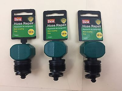 LOT OF 3 Best Garden Poly Hose End Mender Hose Repair Coupling 1/2