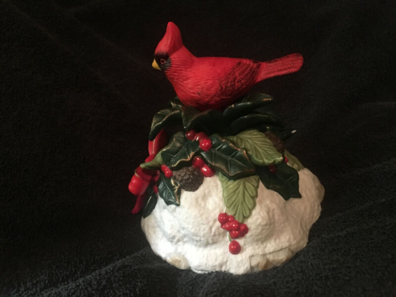 Vintage Rotating Musical Ceramic Red Cardinal Bird Figurine on Snowy Tree Top