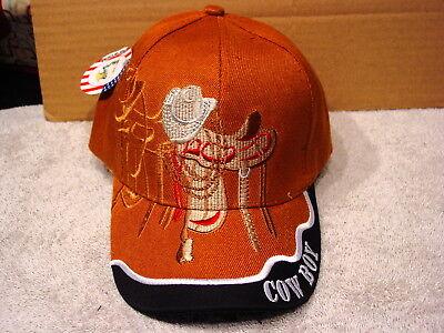 Orange Cowboy Hat (COWBOY SADDLE AND HAT BASEBALL CAP ( BURNT ORANGE)