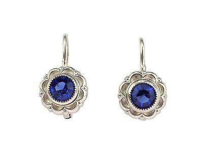 Art Deco Damen 835 Silber Ohrringe mit blauen Steinen handgefertigt antik