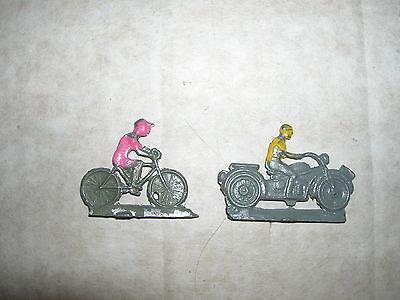 """Zwei alte Spielfiguren Flachfiguren """"Radfahrer & Motorrrad"""" ca. 30er-50er Jahre"""