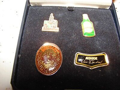 ADELSHOFFEN COLLECTION OF 4 BEER LAPEL  HAT PINS WITH CASE