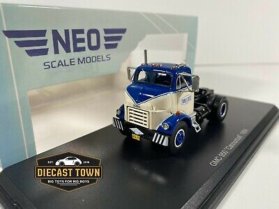 1/64 NEO Scale Models 1954 GMC C950 Cannonball Day Cab Tractor Truck Blue White