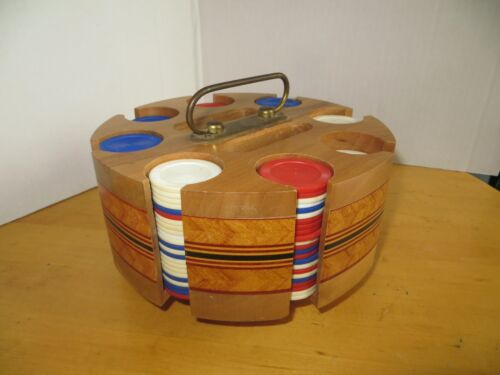 "Poker Chip Caddy / Holder / Rack  Mid-Century Solid Inlaid Wood 8"" Dia."