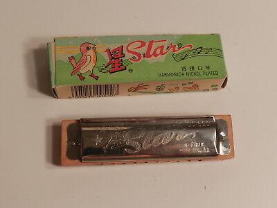 "1990s Star Harmonica UC 520 Nickel Plated  4"" x 1"""