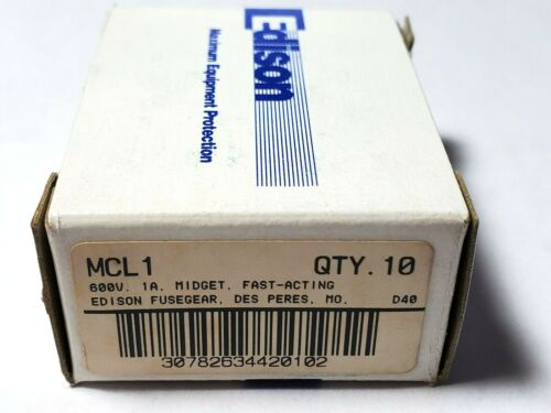 """Lot of 10 Edison MCL1 600V 1 Amp Fast Acting Fuses 1-1/2"""" x 13/32"""""""