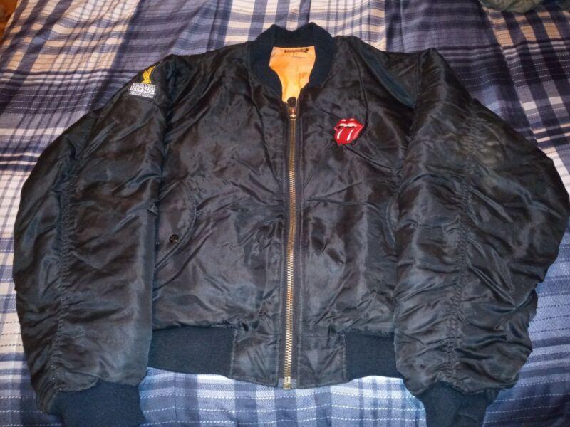 Vintage 1994 90s Rolling Stones Bomber Jacket Voodoo Lounge Black Size L