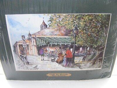 1996 MOUNTED PRINT 'CAFE DU MONDE' NEW ORLEANS BY KNUT ENGELHERDT VGC