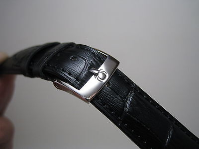 20 MM BLACK LEATHER BAND STAINLESS STEEL SMALL LOGO BUCKLE FOR OMEGA WATCH
