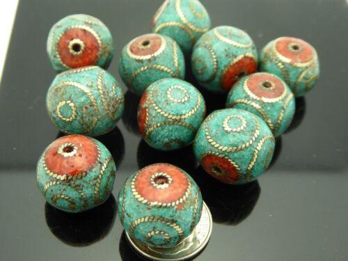 Vintage Nepal Bead 15mm Bronze Coral Turquoise Mosaic Circle Design 1 Piece