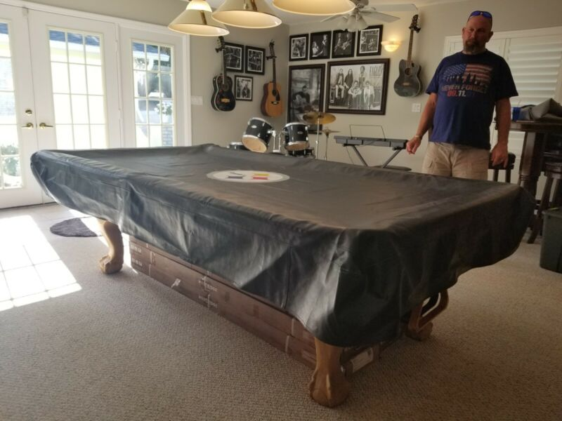 NFL Pittsburgh Steelers 8ft  Fitted Leatherette Pool Table Cover
