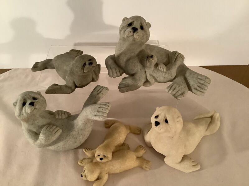 Vintage Quarry Critters Figurines Harp Seal Lot  Sydney, Samba & Sushi, Saucie