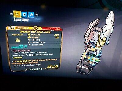 Level 53 Generator Tran-Fusion Tracker CRYO ASE bonus 50% CRYO xbox BL3 for sale  Shipping to India