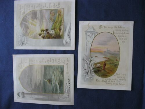 Victorian Trade Cards RELIGIOUS Christian BIBLE Verses GOLD Print Sunbeams 28