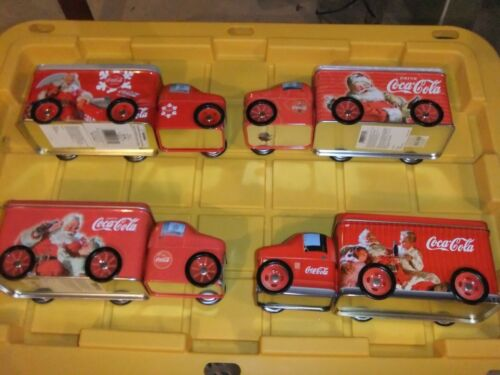 Coca Cola Collectible -Santa Holiday TIN DELIVERY TRUCKS With WHEELS