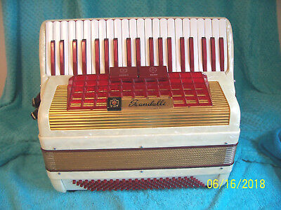 Scandalli Silvana White & Red 120 bass Accordion Italy Accordian good cond. 17""